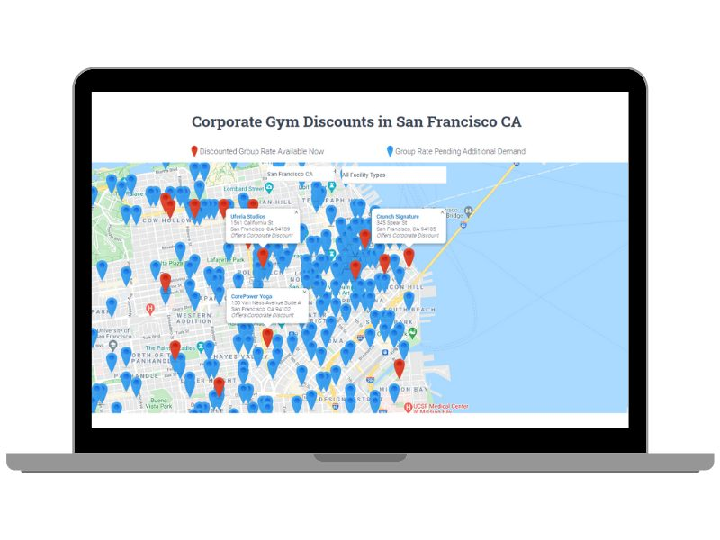 A map of several gym locations in San Francisco offering discounts through IncentFit, with dozens of additional pins to represent potential future discounts.