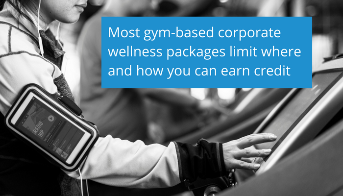 Most gym-based corporate wellness packages limit where and how you can earn credit