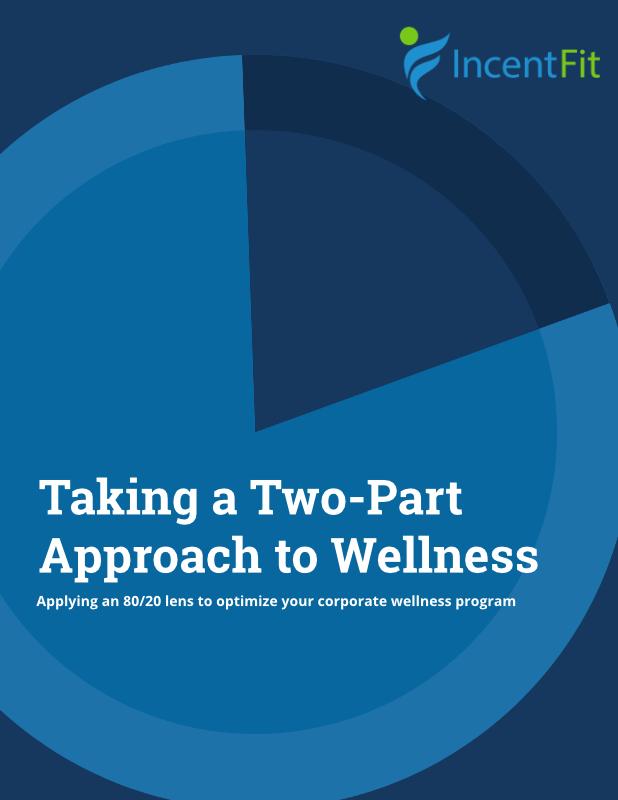 Cover image for whitepaper, title says Taking a Two-Part Approach to Wellness: Applying an 80/20 lens to optimize your corporate wellness program